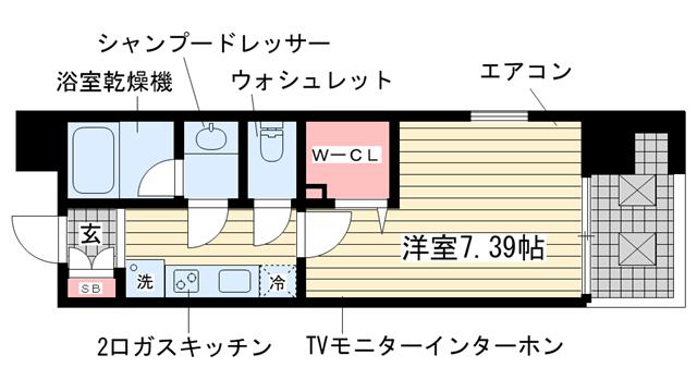 物件番号: 1025850920 アーデンタワー神戸元町  神戸市中央区元町通6丁目 1K マンション 間取り図