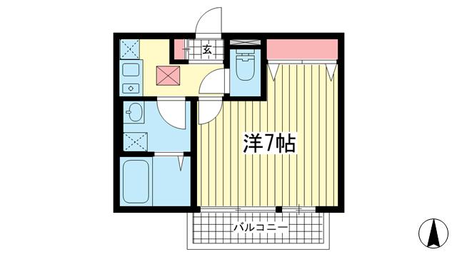 物件番号: 1025850958 シャルマンコート北野  神戸市中央区北野町2丁目 1K マンション 間取り図