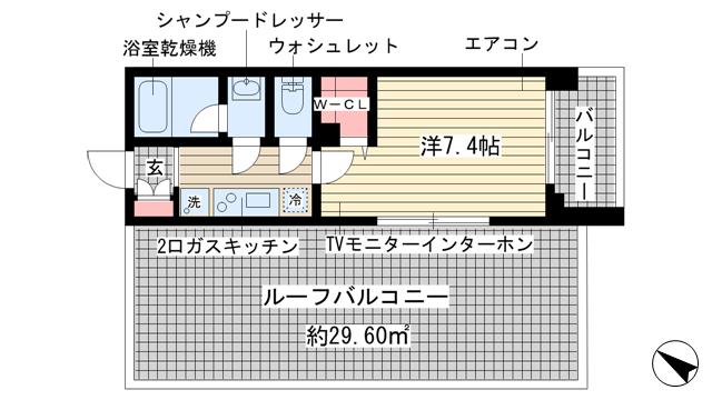 物件番号: 1025851062 アーデンタワー神戸元町  神戸市中央区元町通6丁目 1K マンション 間取り図