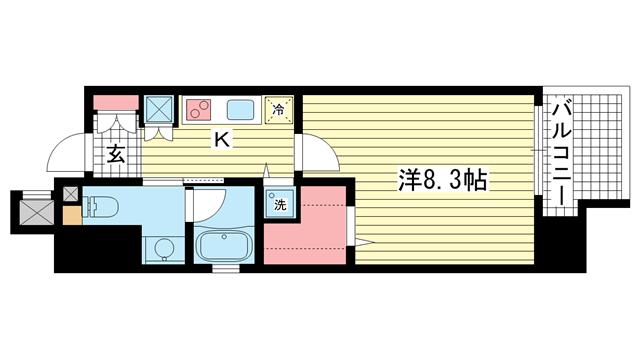 物件番号: 1025851064 レジディア神戸磯上  神戸市中央区磯上通3丁目 1K マンション 間取り図