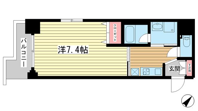 物件番号: 1025851486 エイペックス神戸みなと元町Coast Line  神戸市中央区元町通5丁目 1K マンション 間取り図