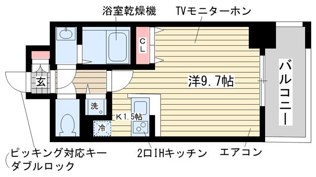 物件番号: 1025851686 カシータ神戸元町JP  神戸市中央区花隈町 1R マンション 間取り図