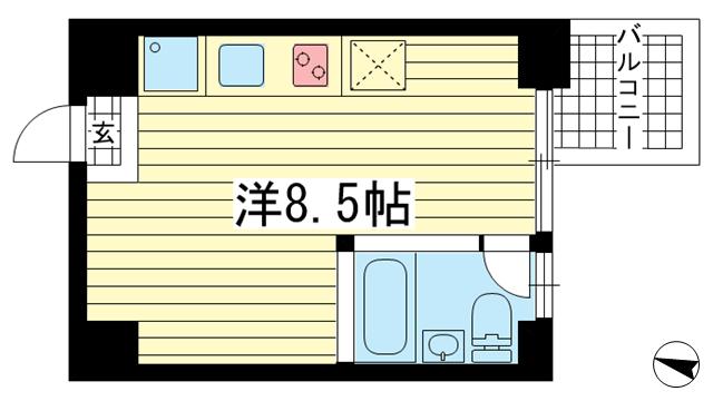 物件番号: 1025851700 East Village SANNOMIYA  神戸市中央区琴ノ緒町4丁目 1R マンション 間取り図