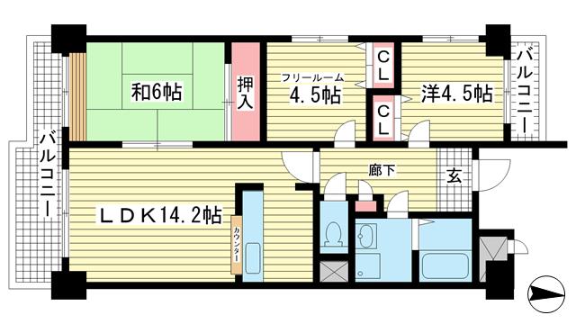 物件番号: 1025851709 ライフ新神戸  神戸市中央区生田町1丁目 2SLDK マンション 間取り図