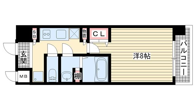 物件番号: 1025851896 W-STYLEL神戸Ⅱ  神戸市兵庫区新開地4丁目 1K マンション 間取り図