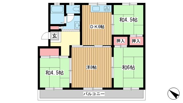 物件番号: 1025851928 ひよどり台3団地20号棟  神戸市北区ひよどり台3丁目 4DK マンション 間取り図