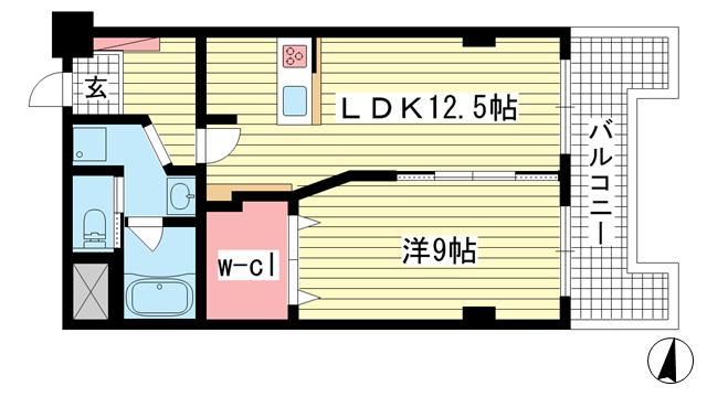 物件番号: 1025852055 ドミール北野  神戸市中央区加納町2丁目 1LDK マンション 間取り図