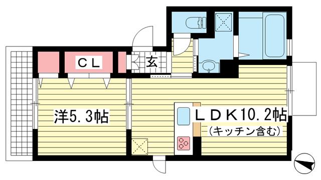 物件番号: 1025852094 ウエストフィールド  神戸市中央区神若通5丁目 1LDK アパート 間取り図