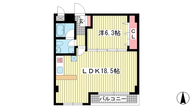 物件番号: 1025852184 上春日野ハイツ  神戸市中央区神仙寺通4丁目 1LDK マンション 間取り図