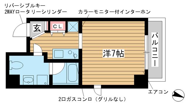 物件番号: 1025852271 チェメント  神戸市中央区御幸通2丁目 1K マンション 間取り図