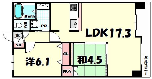物件番号: 1025852290 レジディア三宮東  神戸市中央区磯上通3丁目 2LDK マンション 間取り図