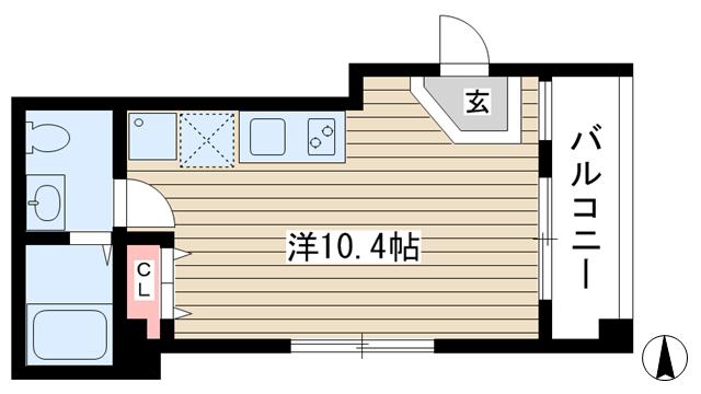 物件番号: 1025852664 エスポワール加納町  神戸市中央区加納町4丁目 1R マンション 間取り図