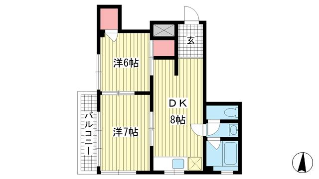 物件番号: 1025852840 藤正ファインクラフト  神戸市中央区中山手通1丁目 2DK マンション 間取り図