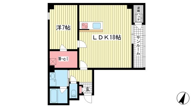 物件番号: 1025852908 フレイランス磯辺  神戸市中央区磯辺通2丁目 1LDK マンション 間取り図