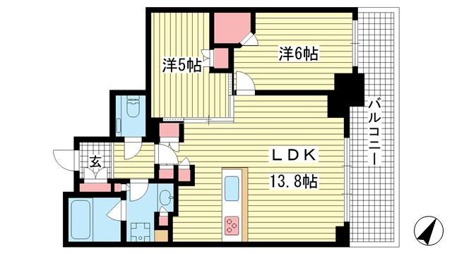 物件番号: 1025852961 シティタワー神戸三宮  神戸市中央区旭通4丁目 2LDK マンション 間取り図