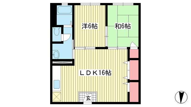 物件番号: 1025853155 元町コーポラス  神戸市中央区元町通4丁目 2LDK マンション 間取り図