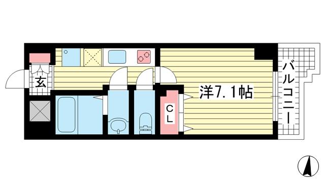 物件番号: 1025853219 アドバンス三宮Ⅵクレスト  神戸市中央区八雲通6丁目 1K マンション 間取り図