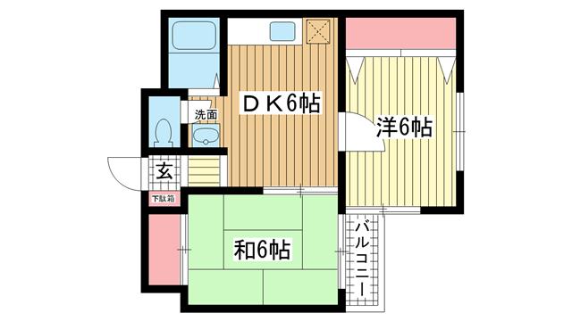 物件番号: 1025853223 サチハイツ  神戸市兵庫区小河通2丁目 2DK マンション 間取り図