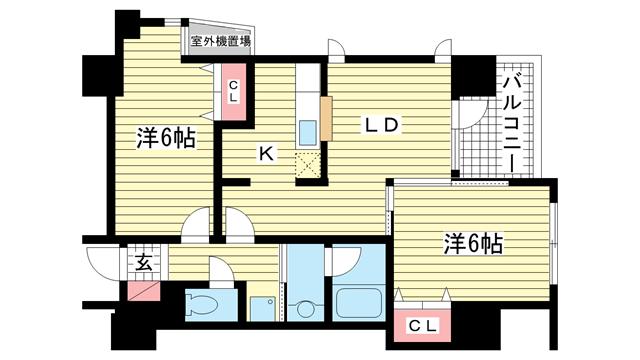 物件番号: 1025853300 メゾン・ヌーベル新神戸  神戸市中央区二宮町2丁目 2LDK マンション 間取り図