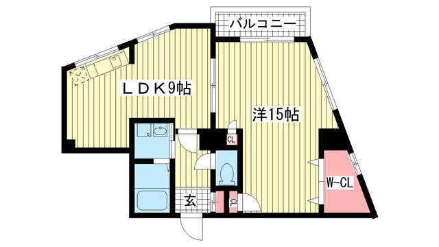 物件番号: 1025853301 シャトー・ド・フェニックス  神戸市中央区二宮町3丁目 1LDK マンション 間取り図