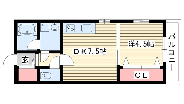 物件番号: 1025853339 仮)KTIレジデンス上沢  神戸市兵庫区会下山町3丁目 1DK ハイツ 間取り図