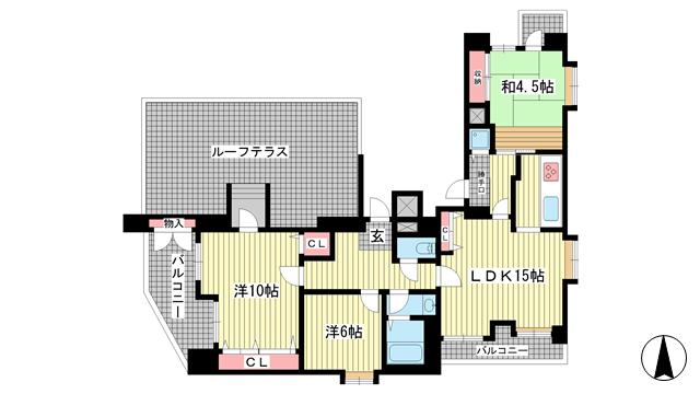 物件番号: 1025853357 サンヴェール青谷  神戸市灘区赤坂通8丁目 3LDK マンション 間取り図