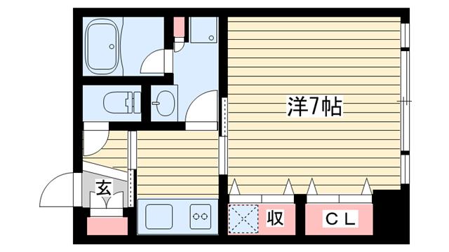物件番号: 1025853399 アンリーヴ北野  神戸市中央区山本通2丁目 1K マンション 間取り図