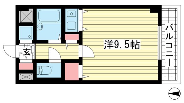 物件番号: 1025853478 コーラルウェイⅡ  神戸市中央区楠町6丁目 1R マンション 間取り図