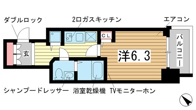 物件番号: 1025853752 Lala place三宮東アスヴェル  神戸市中央区国香通2丁目 1K マンション 間取り図