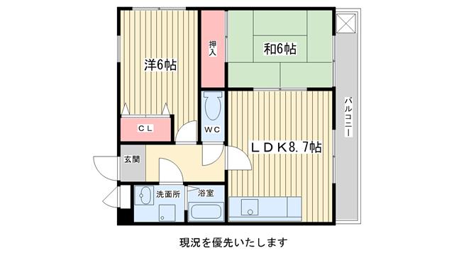 物件番号: 1025853988 エクセル春日野道  神戸市中央区吾妻通1丁目 2LDK マンション 間取り図