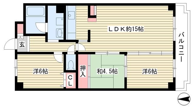 物件番号: 1025854062 Belltree若草  神戸市須磨区若草町1丁目 3LDK マンション 間取り図