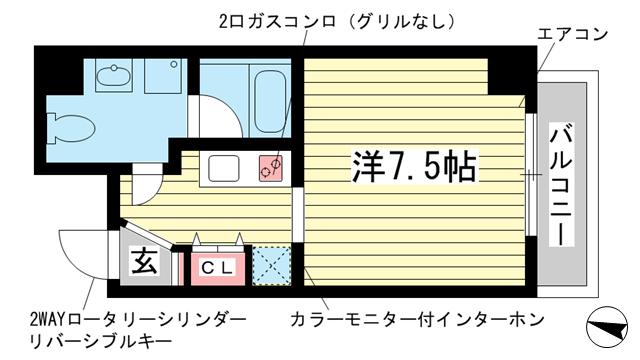 物件番号: 1025854063 チェメント  神戸市中央区御幸通2丁目 1K マンション 間取り図