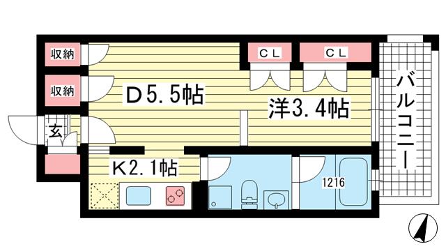物件番号: 1025854104 g+  神戸市中央区下山手通8丁目 1DK マンション 間取り図