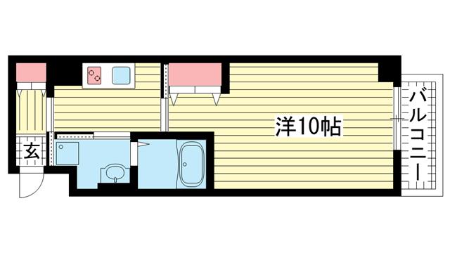 物件番号: 1025854116 レガーロ プラス(REGALO PLUS)  神戸市中央区加納町4丁目 1K マンション 間取り図