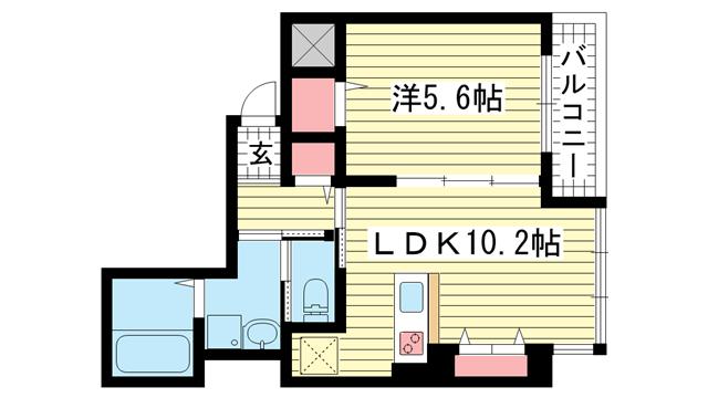 物件番号: 1025854127 レガーロ プラス(REGALO PLUS)  神戸市中央区加納町4丁目 1LDK マンション 間取り図