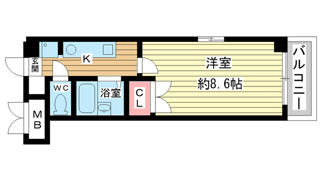 物件番号: 1025854172 アートプラザ神戸西  神戸市西区前開南町2丁目 1K マンション 間取り図
