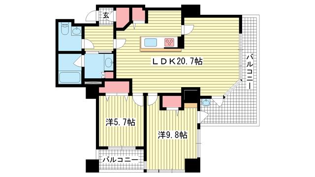 物件番号: 1025854251 アパタワーズ神戸三宮  神戸市中央区磯辺通4丁目 2LDK マンション 間取り図