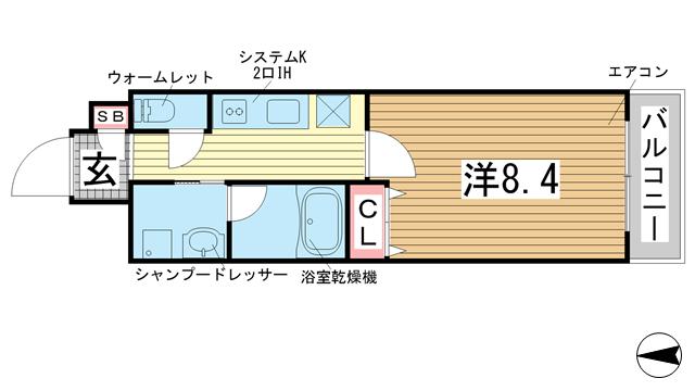 物件番号: 1025854264 ル・プルミエ  神戸市灘区赤坂通1丁目 1K マンション 間取り図
