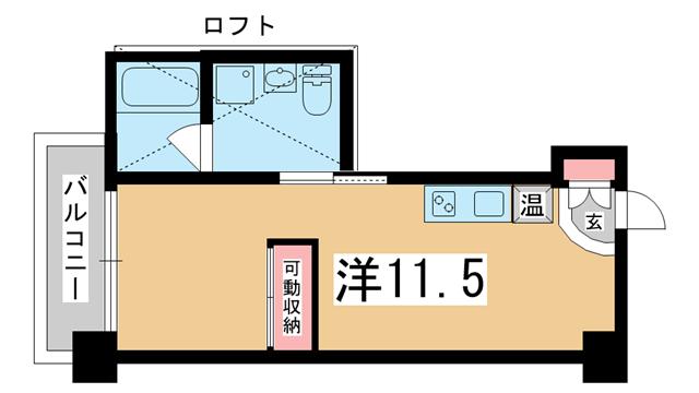 物件番号: 1025854493  神戸市中央区旭通3丁目 1R マンション 間取り図