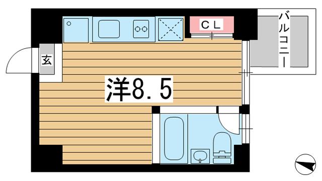 物件番号: 1025854669 East Village SANNOMIYA  神戸市中央区琴ノ緒町4丁目 1R マンション 間取り図