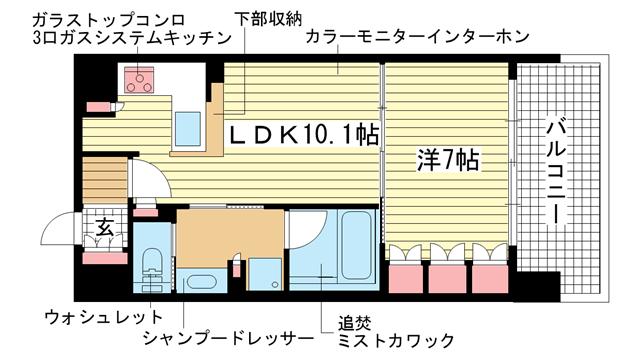 物件番号: 1025854852 リーガル神戸三宮  神戸市中央区磯辺通3丁目 1LDK マンション 間取り図