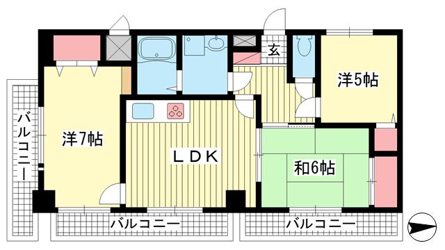 物件番号: 1025854856 リーガル神戸元町  神戸市中央区北長狭通4丁目 3LDK マンション 間取り図