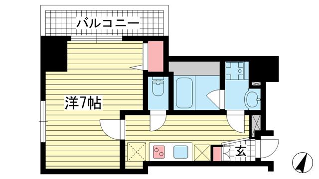 物件番号: 1025854922 アドバンス三宮ステージア  神戸市中央区東雲通1丁目 1K マンション 間取り図