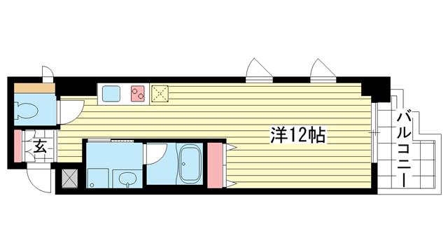 物件番号: 1025854972 ラ・ウェゾン神戸海岸通  神戸市中央区海岸通5丁目 1R マンション 間取り図