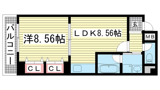 物件番号: 1025855080 プラネットフィールドKOBE  神戸市兵庫区七宮町2丁目 1LDK マンション 間取り図