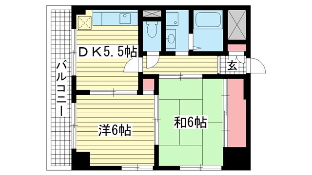 物件番号: 1025855098 シャトゥソフィア  神戸市中央区相生町4丁目 2DK マンション 間取り図