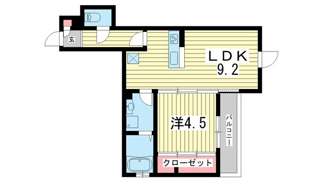 物件番号: 1025855111  神戸市中央区下山手通8丁目 1LDK マンション 間取り図