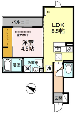 物件番号: 1025855114 セジュール下山手通  神戸市中央区下山手通8丁目 1LDK マンション 間取り図