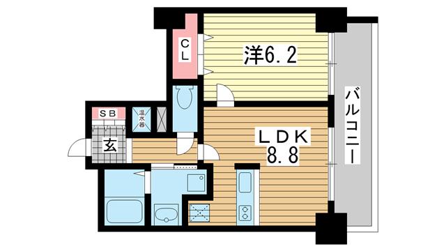 物件番号: 1025855433 アドバンス三宮Ⅲリンクス  神戸市中央区日暮通1丁目 1LDK マンション 間取り図