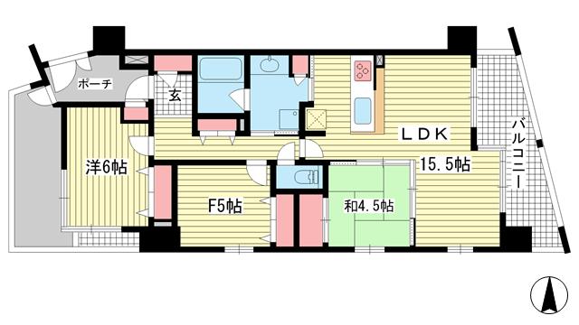 物件番号: 1025855450 レジュール ザ・元町駅前  神戸市中央区北長狭通4丁目 2LDK マンション 間取り図